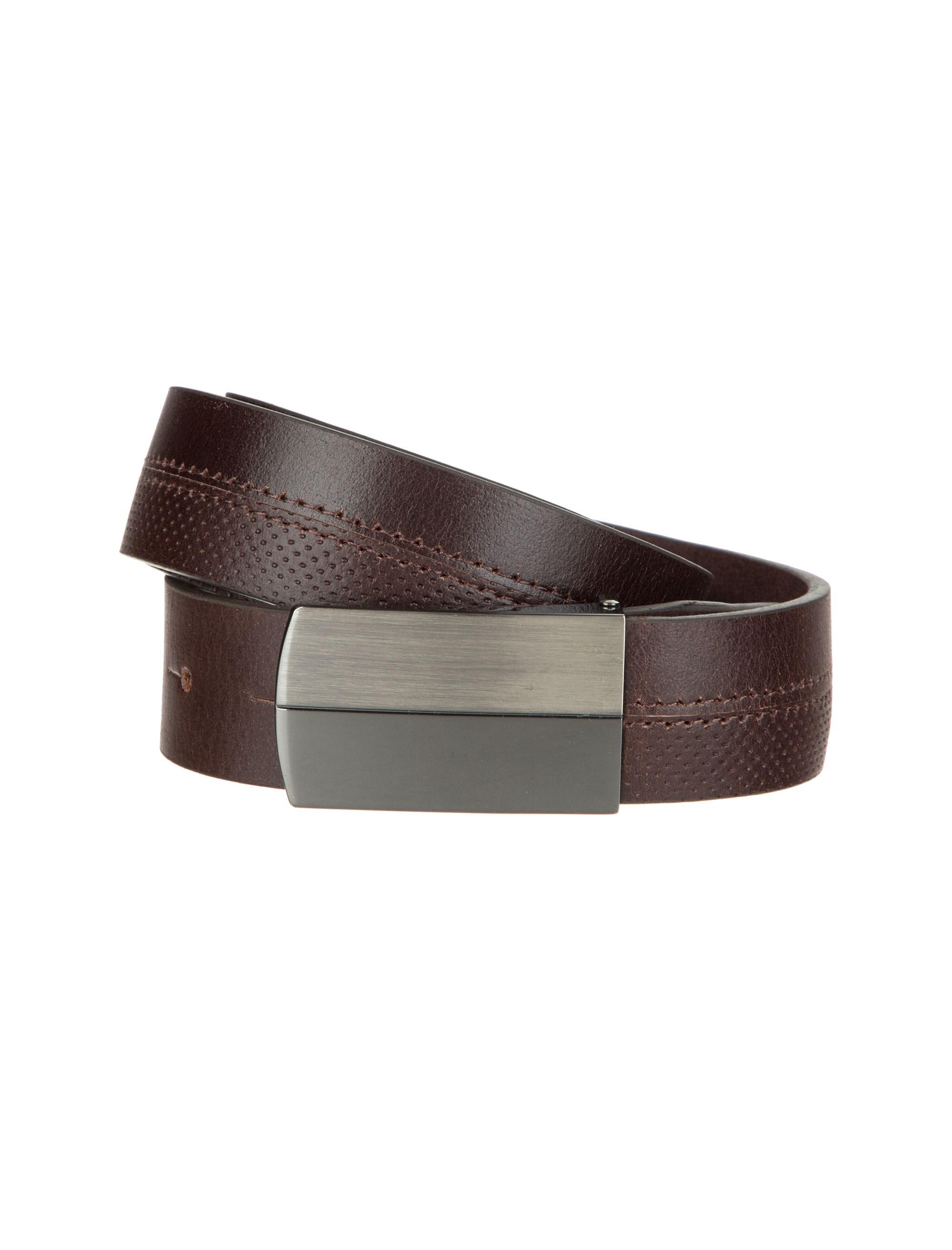 کمربند چرم سگک تخت مردانه – عالیخان  Men Leather Solid Buckle Belt – AleeKhan