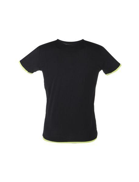تی شرت نخی یقه گرد مردانه - مشکي - 2