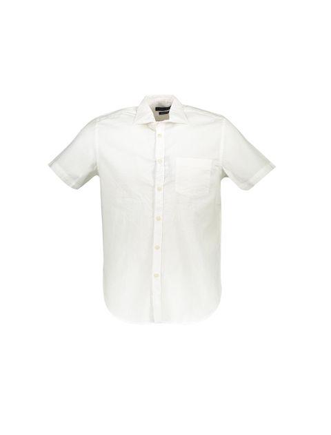 پیراهن نخی آستین کوتاه مردانه - سفيد - 1