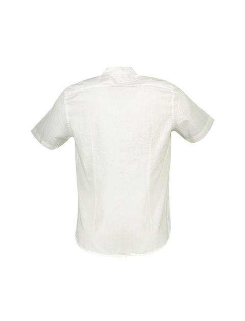 پیراهن نخی آستین کوتاه مردانه - سفيد - 2