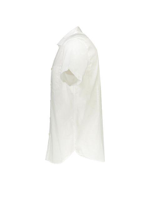 پیراهن نخی آستین کوتاه مردانه - سفيد - 3