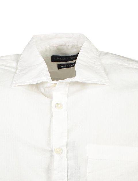 پیراهن نخی آستین کوتاه مردانه - سفيد - 4