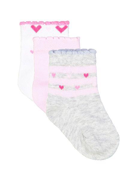 جوراب نخی طرح دار نوزادی دخترانه 2  بسته - سفيد ، صورتي ، طوسي - 1