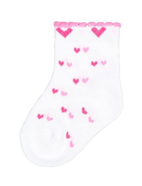 جوراب نخی طرح دار نوزادی دخترانه 2  بسته - سفيد ، صورتي ، طوسي - 3
