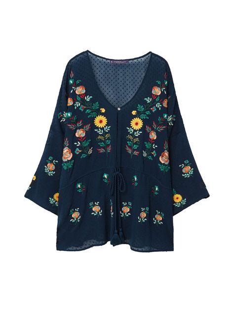 رویه لباس طرح دار زنانه - ویولتا بای مانگو - سرمه اي - 1