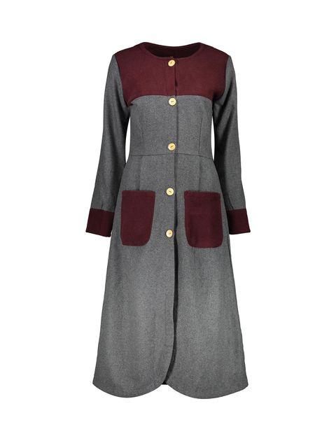 پالتو بلند زنانه - خاکستري/زرشکي - 1