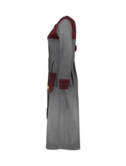 پالتو بلند زنانه - خاکستري/زرشکي - 3