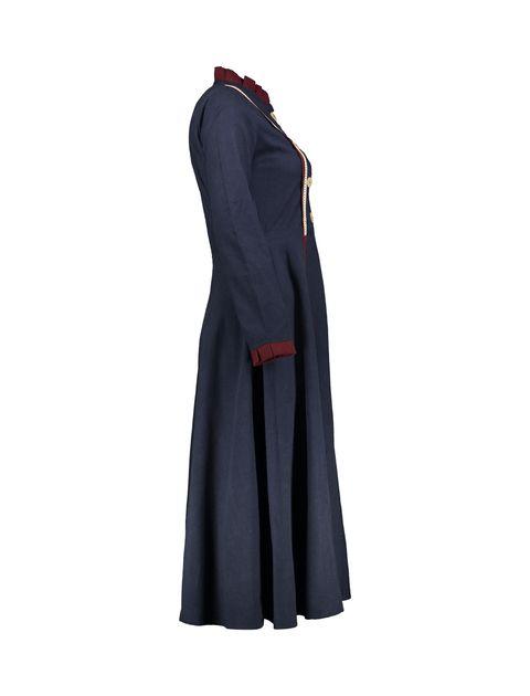 مانتو بلند زنانه - سرمه اي - 3