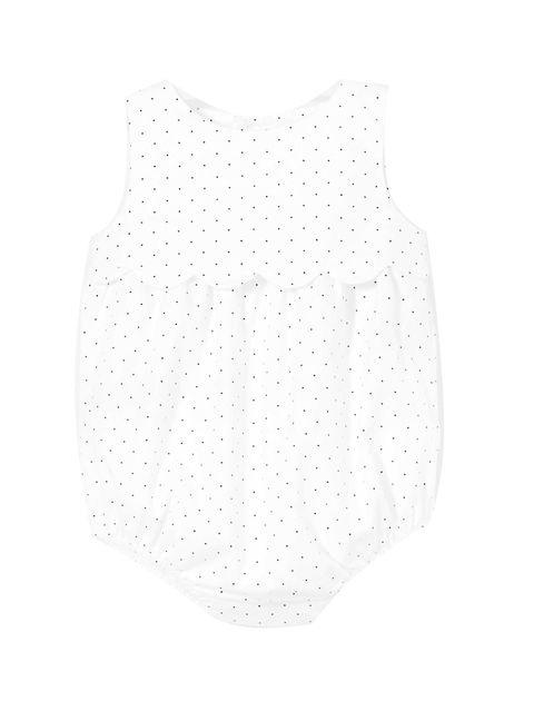 پیراهن نخی طرح دار نوزادی دخترانه LALY - سفيد - 1