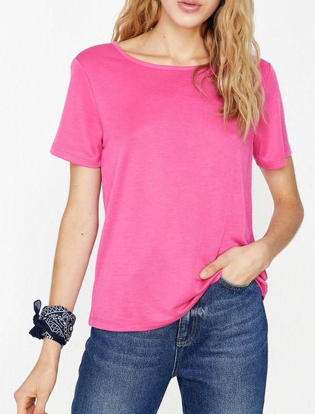 تی شرت یقه گرد زنانه - صورتي - 1