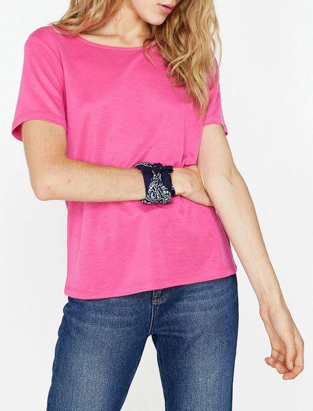 تی شرت یقه گرد زنانه - صورتي - 2