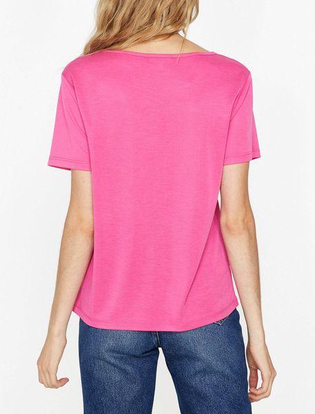 تی شرت یقه گرد زنانه - صورتي - 4