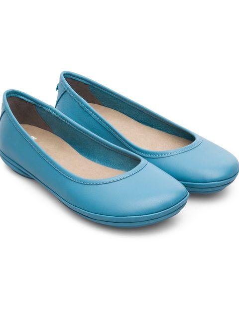 کفش تخت چرم زنانه Right Nina - کمپر - آبي - 4