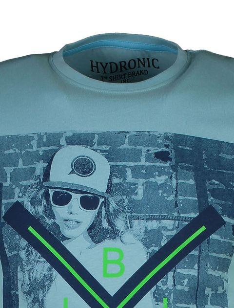 تی شرت نخی یقه گرد مردانه - آبي روشن - 4