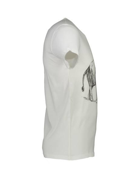 تی شرت نخی یقه گرد مردانه - سفيد - 3