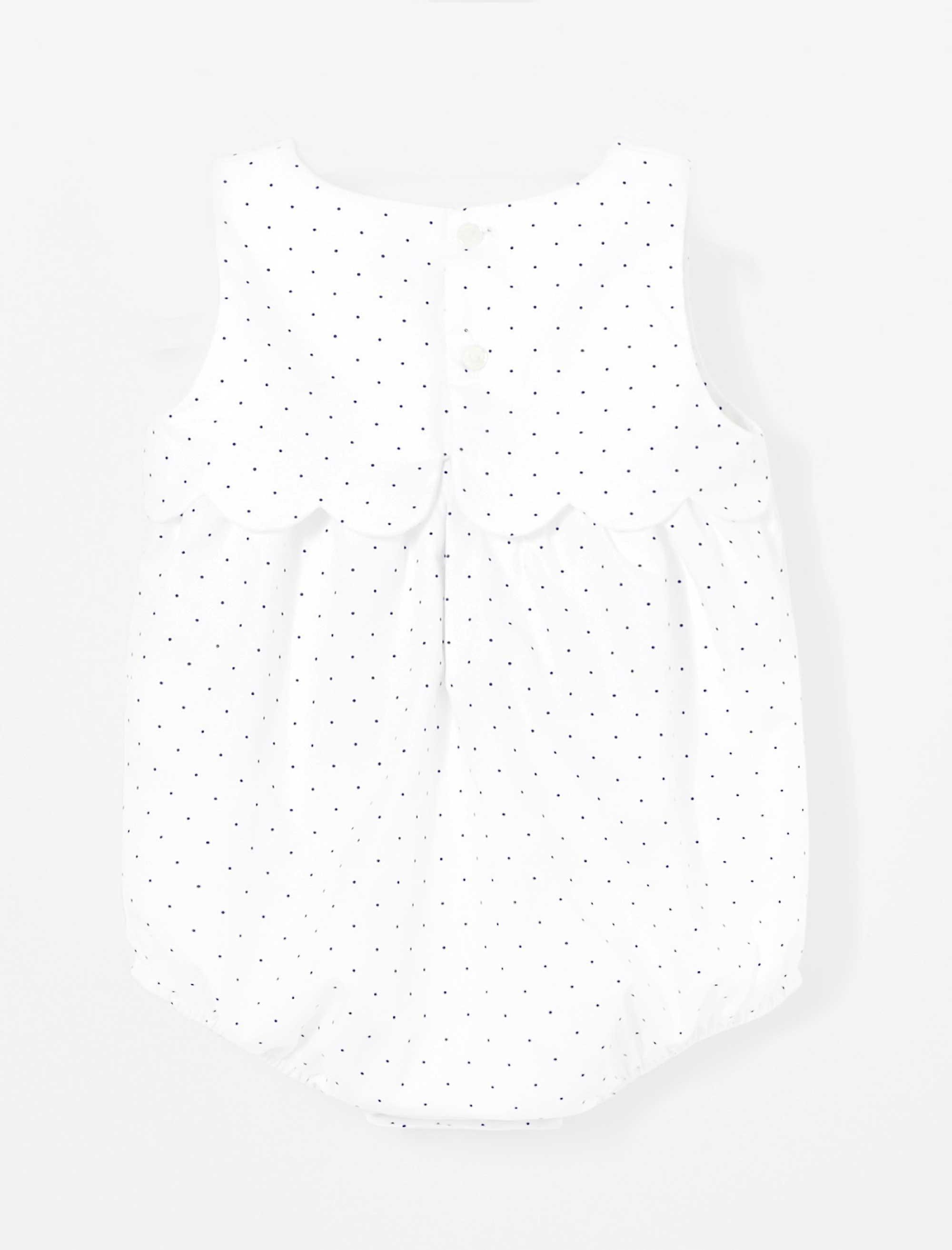 پیراهن نخی طرح دار نوزادی دخترانه LALY - سفيد - 2