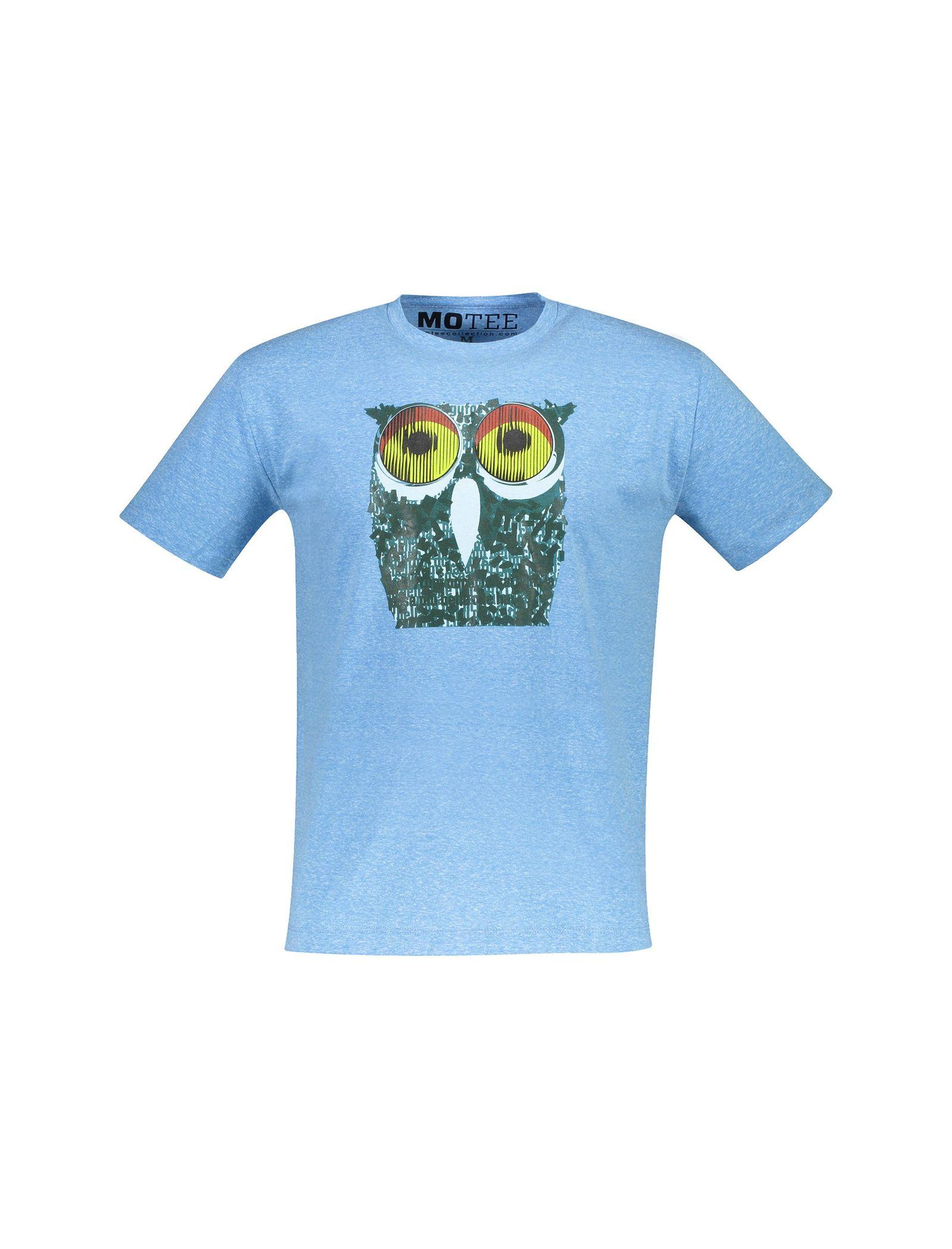 تی شرت یقه گرد مردانه - متی - آبي روشن - 1