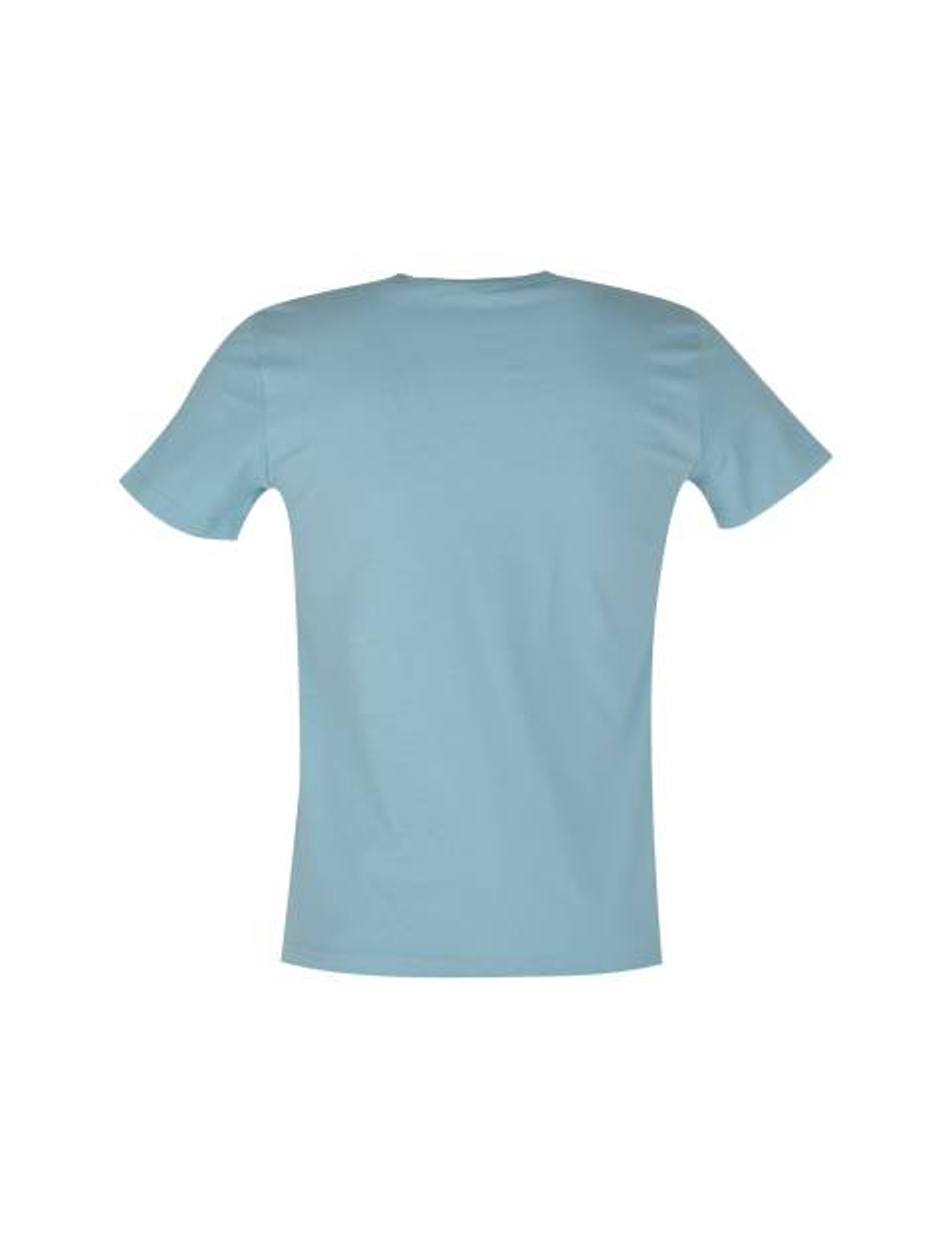 تی شرت نخی یقه گرد مردانه - فيروزه اي - 2
