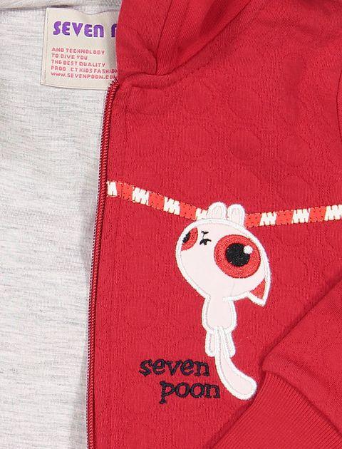 هودی نخی زیپ دار دخترانه - سون پون - قرمز  - 3