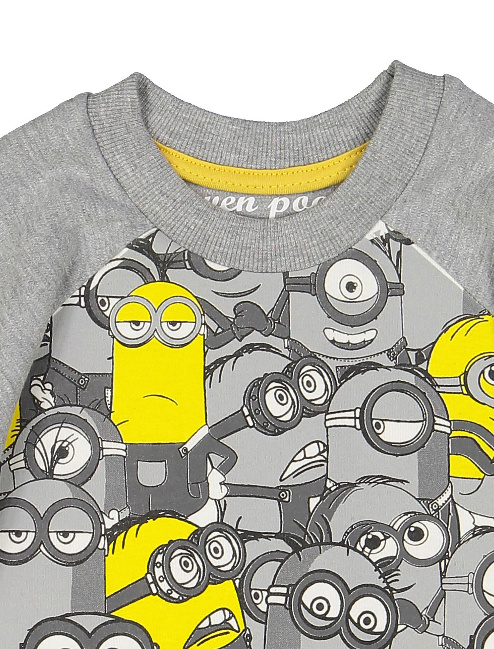 تی شرت نخی یقه گرد پسرانه - سون پون - طوسي  - 3