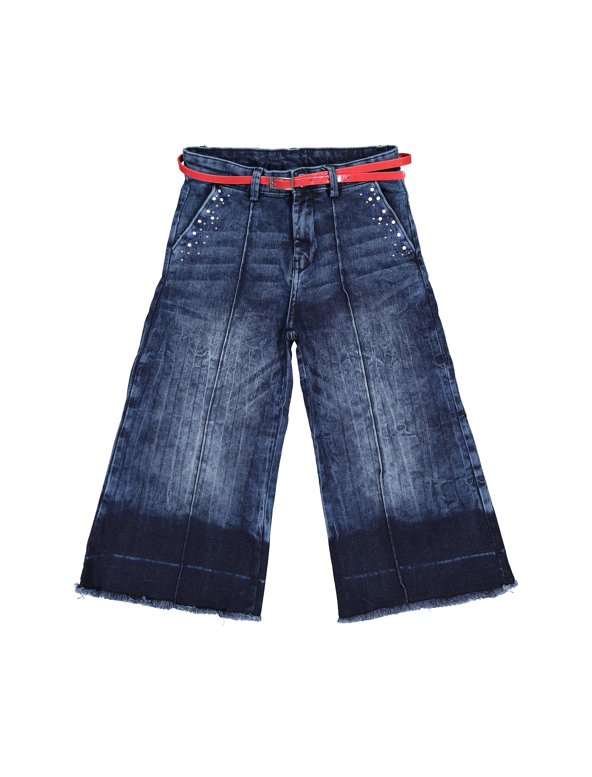 شلوار جین گشاد دخترانه - آبي - 1