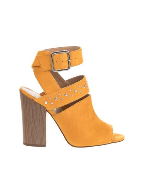 کفش پاشنه بلند پارچه ای زنانه - خردلي - 1