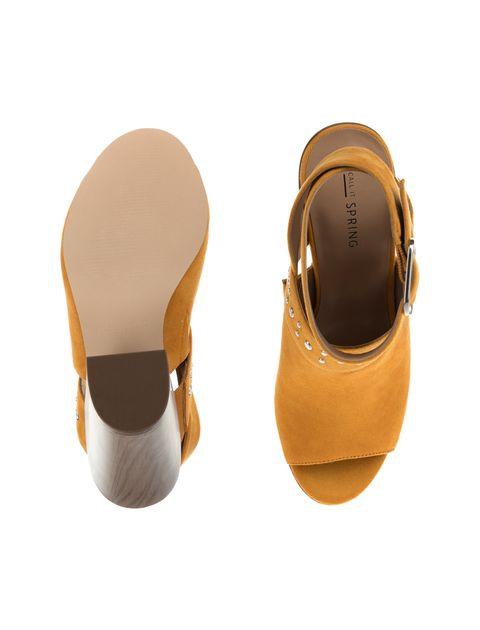 کفش پاشنه بلند پارچه ای زنانه - خردلي - 2