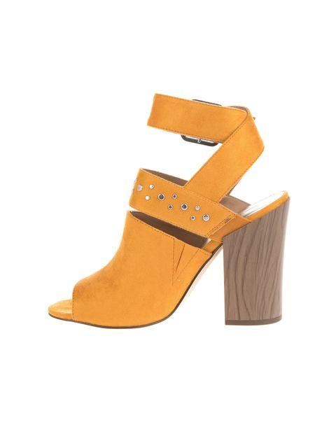 کفش پاشنه بلند پارچه ای زنانه - خردلي - 3
