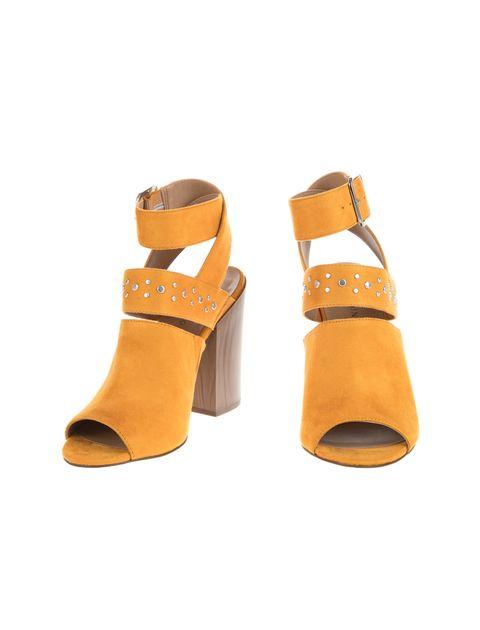 کفش پاشنه بلند پارچه ای زنانه - خردلي - 4