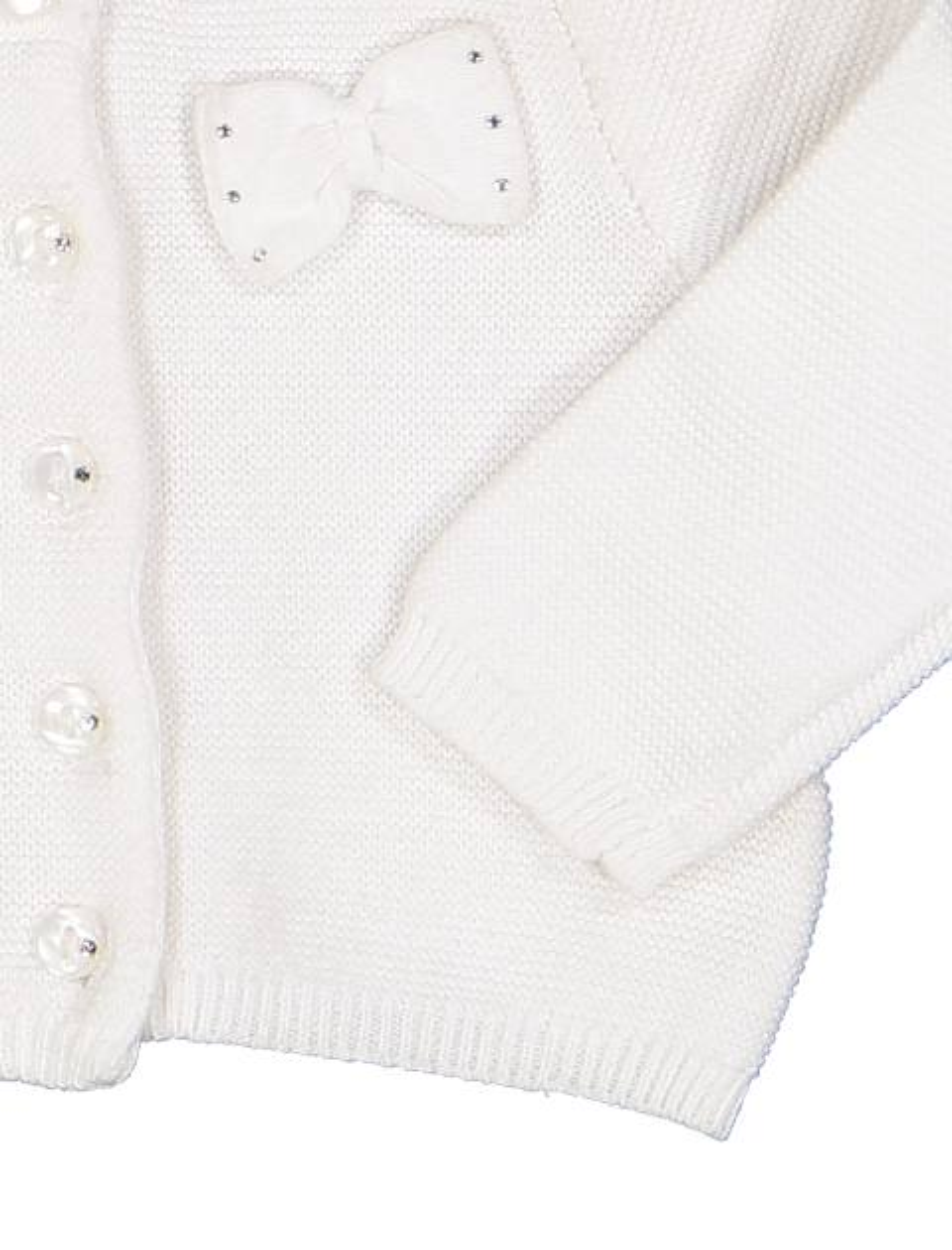 ژاکت نخی دکمه دار نوزادی دخترانه - سفيد - 3
