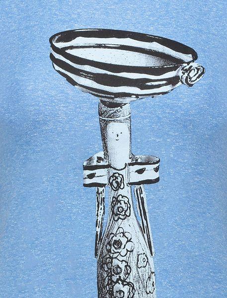 تی شرت یقه گرد زنانه - آبي - 4