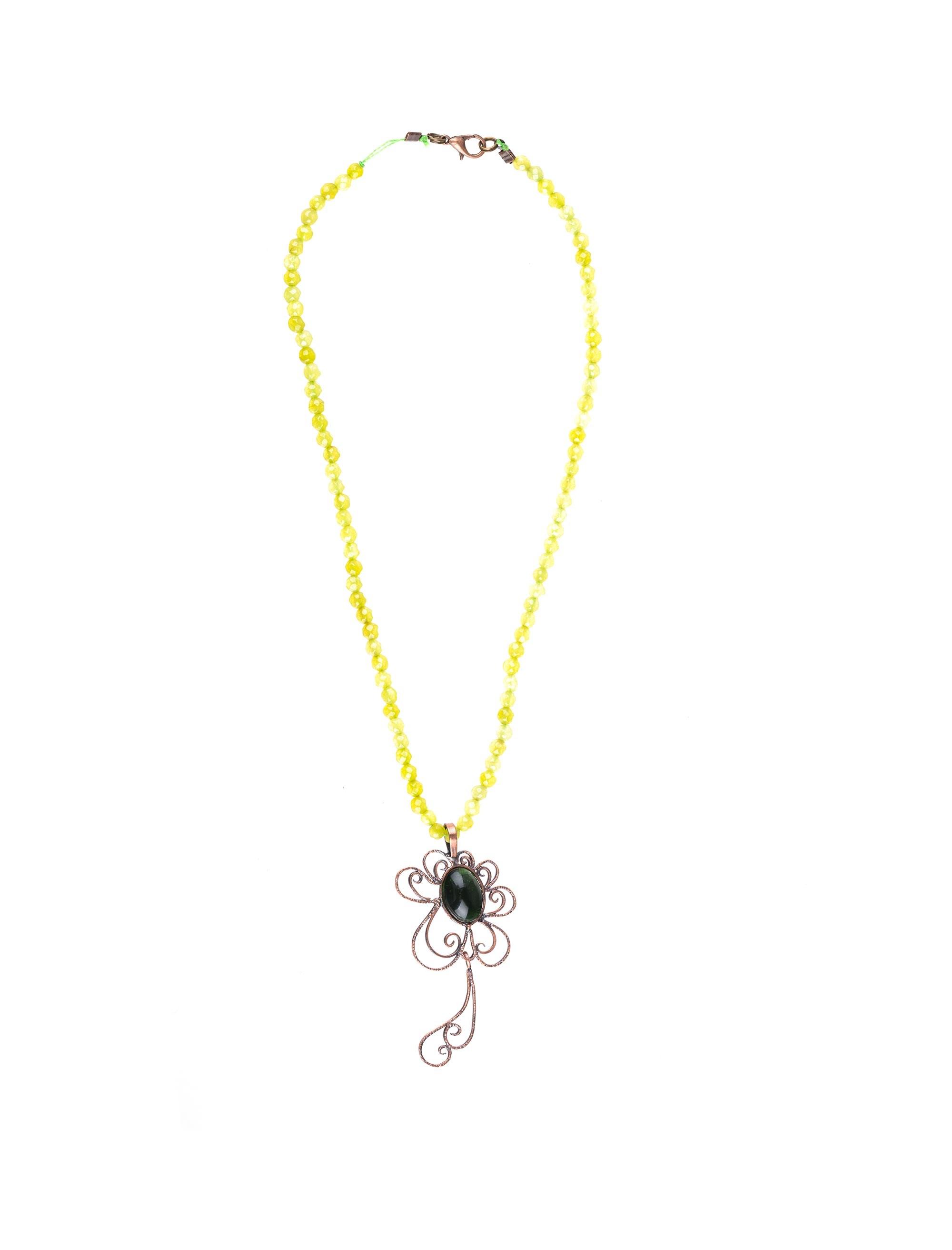 گردنبند آویز زنانه - زرمس تک سایز - سبز روشن - 1