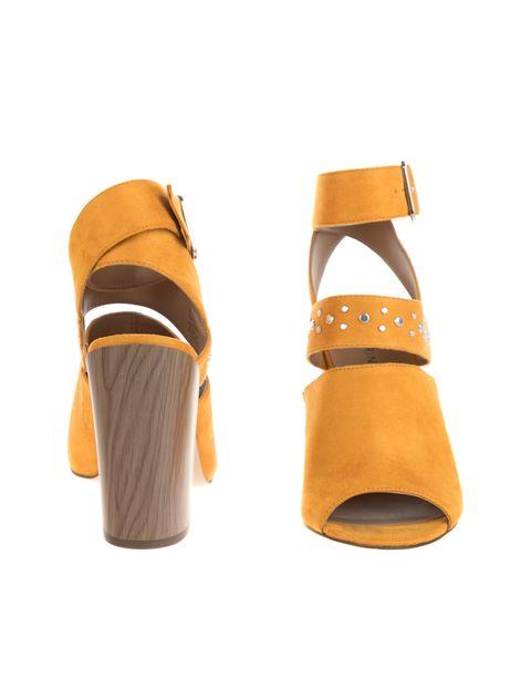 کفش پاشنه بلند پارچه ای زنانه - خردلي - 5