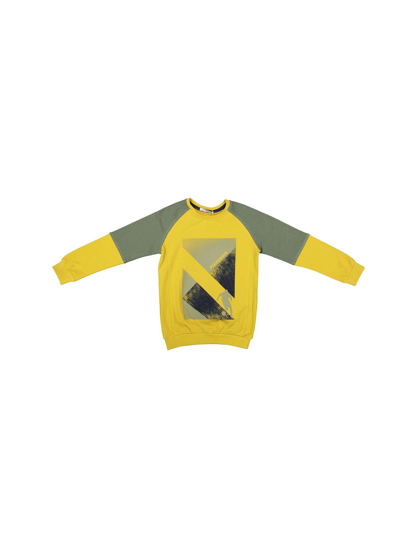 پیراهن و شلوار پسرانه - پیانو - زرد - 2