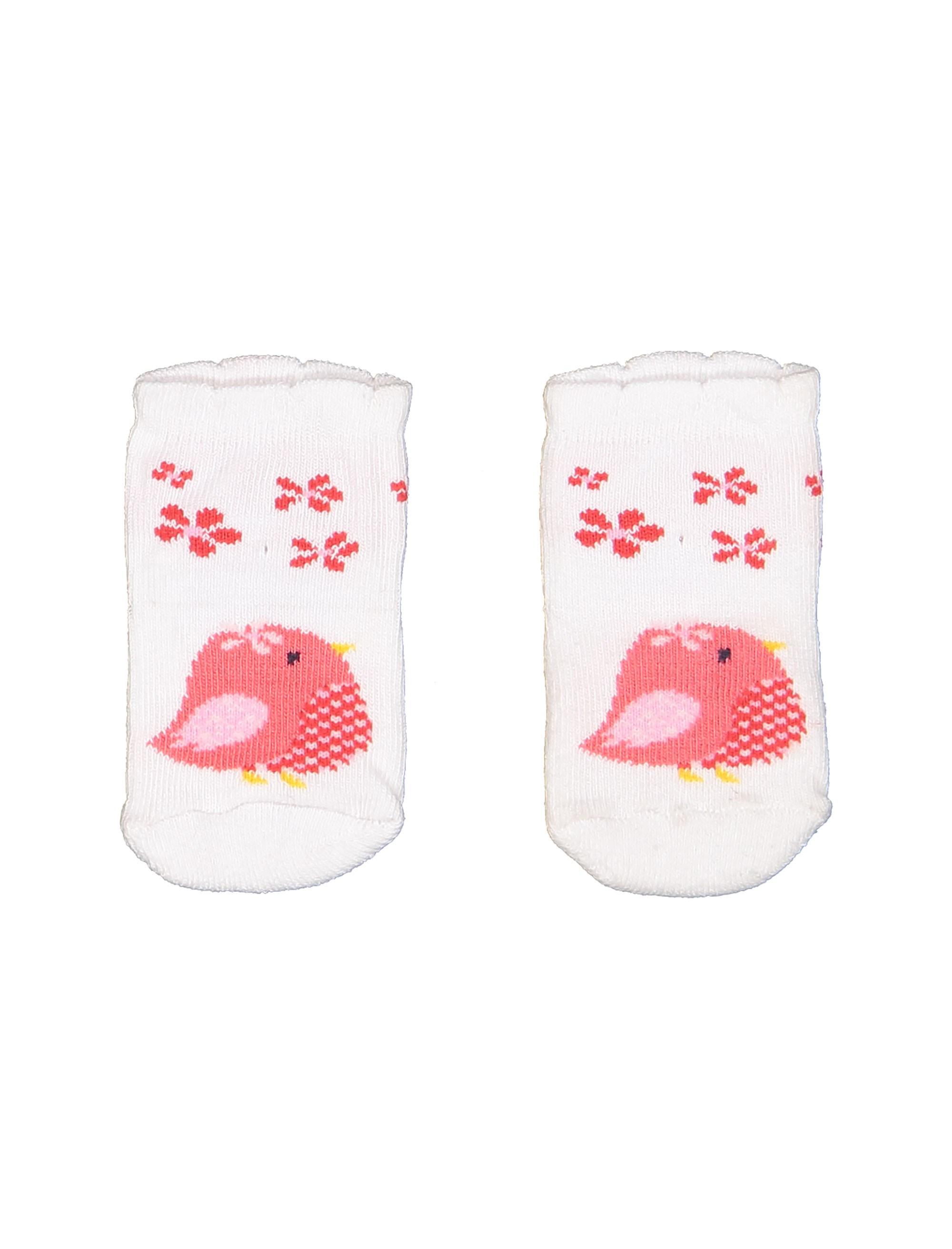 جوراب نخی طرح دار نوزادی - سفيد - 1