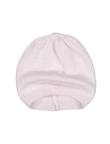 کلاه نخی ساده نوزادی دخترانه - صورتي - 1