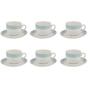 سرویس چینی 12 پارچه چای خوری چینی زرین ایران سری ایتالیا اف مدل سپید صدف درجه یک