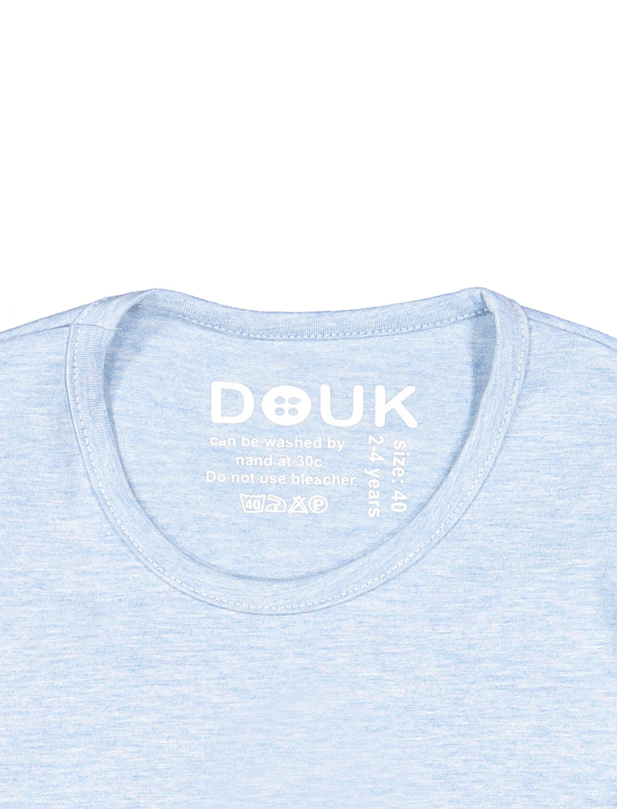 تی شرت نخی آستین بلند دخترانه - آبي  - 3