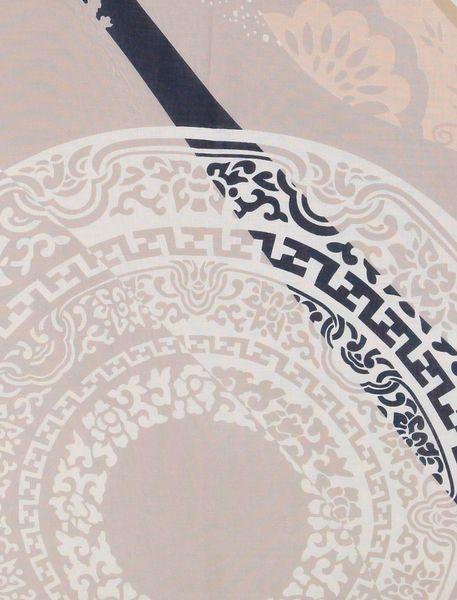 روسری نخی زنانه - کرم/سرمه اي - 3