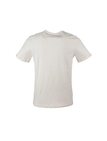 تی شرت نخی یقه گرد مردانه - کرم - 3