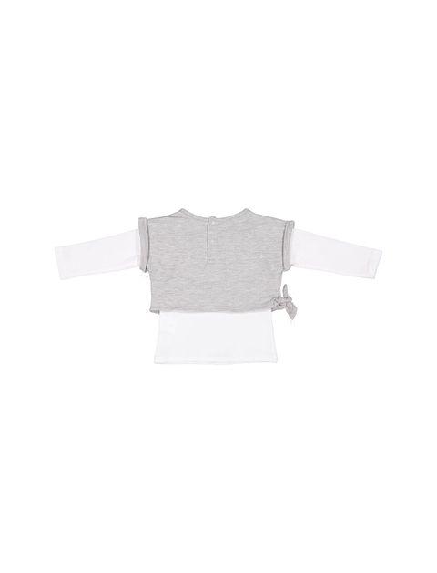 تی شرت و نیم تنه نخی دخترانه - سفيد / طوسي  - 2