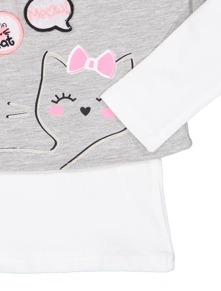 تی شرت و نیم تنه نخی دخترانه - سفيد / طوسي  - 5