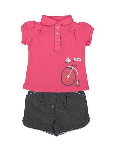 تی شرت و شلوارک نخی نوزادی دخترانه