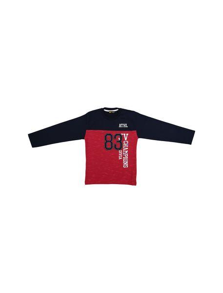 سویشرت و شلوار نخی پسرانه 83 - قرمز/سرمه اي - 2