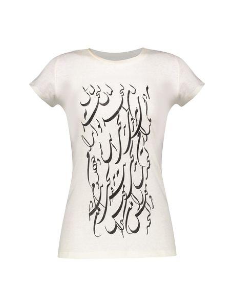 تی شرت یقه گرد زنانه - سفيد - 1