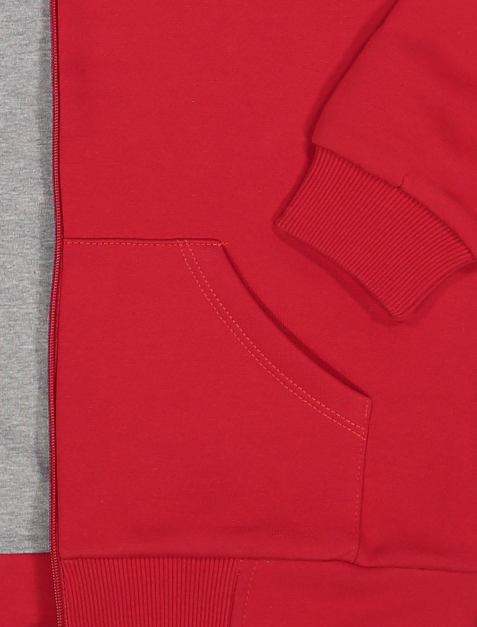هودی نخی زیپ دار دخترانه - سون پون - طوسي و قرمز - 3