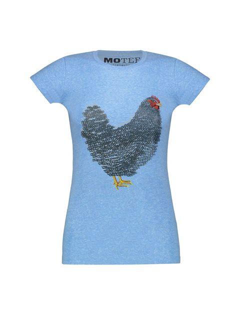 تی شرت یقه گرد زنانه - آبي - 1