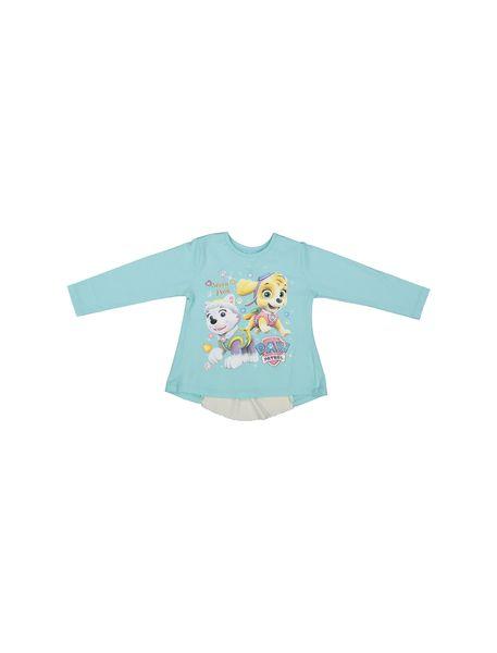 تی شرت نخی یقه گرد دخترانه -  آبي - 1