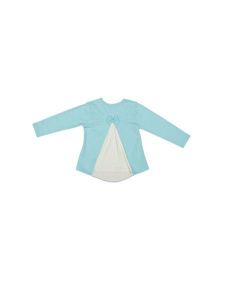 تی شرت نخی یقه گرد دخترانه -  آبي - 2
