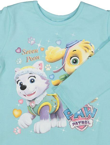 تی شرت نخی یقه گرد دخترانه -  آبي - 3